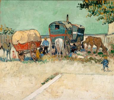 Exposición luces de bohemia. Vincent van Gogh . Las caravanas, campamento gitano cerca de Arles, 1888